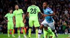 Manchester City's Raheem Sterling celebrates scoring his side's first goal in the Champions League match at the Etihad Stadium, Manchester. Photo: Nick Potts/PA Wire