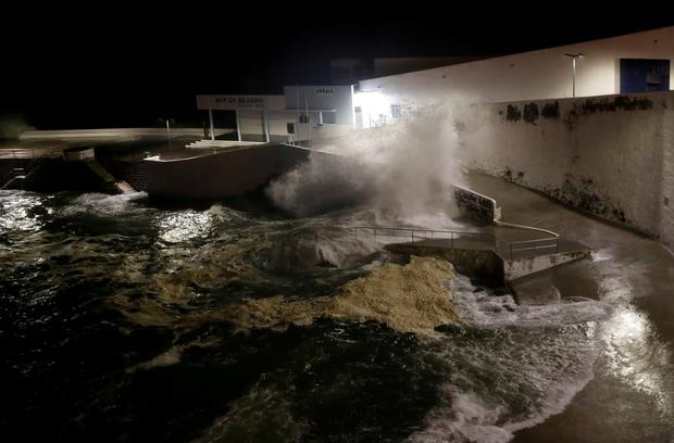 Waves crash on a wall along the coast near Angra do Heroismo, before the arrival of Hurricane Lorenzo in Azores, Portugal. Picture: REUTERS/Rafael Marchante