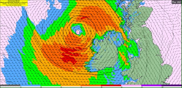 Hurricane Lorenzo's latest predicted path across Ireland. Photo: Met Éireann