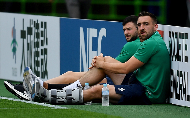 Jack Conan (right) may not return to action until 2020 after suffering a foot injury. Photo by Brendan Moran/Sportsfile