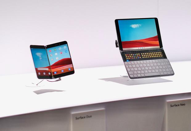 Microsoft Surface Duo phone (left) and Microsoft Surface Neo (right) Pic: Adrian Weckler