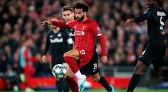 Liverpool's Mohamed Salah scores his side's fourth goal of the game during the UEFA Champions League Group E match at Anfield, Liverpool. PA Photo. Picture date: Wednesday October 2, 2019. See PA story SOCCER Liverpool. Photo credit should read: Nick Potts/PA Wire