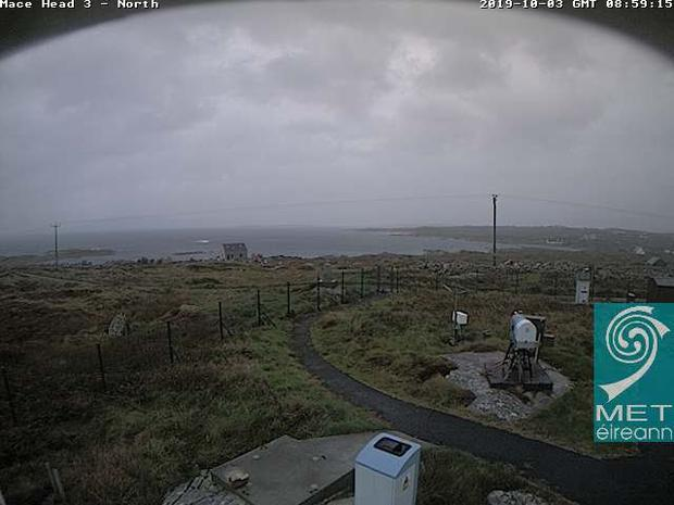 A webcam grab from Mace Head Atmospheric Research Station in Co Galway of the approach of Storm Lorenzo