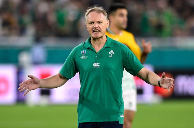 Ireland head coach Joe Schmidt reacts during the warm up before the Pool A win over Russia in Kobe Misaki Stadium