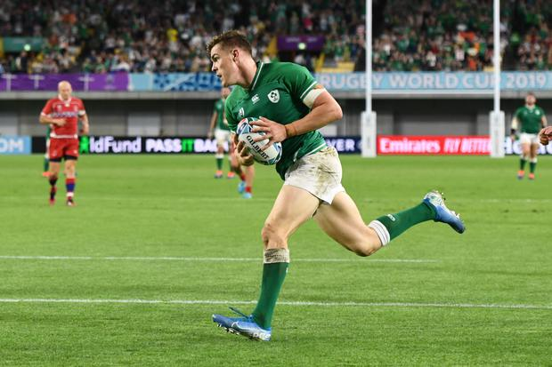 Ireland's Garry Ringrose scores their fifth try in the Rugby World Cup 2019 Pool A win over Russia in Kobe. Photo: Reuters/Annegret Hilse