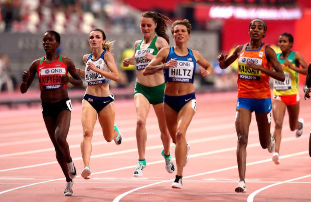 Ireland's Ciara Mageean, centre, on her way to qualifying for the Women's 1500m final during day six of the IAAF World Championships at The Khalifa International Stadium, Doha, Qatar.