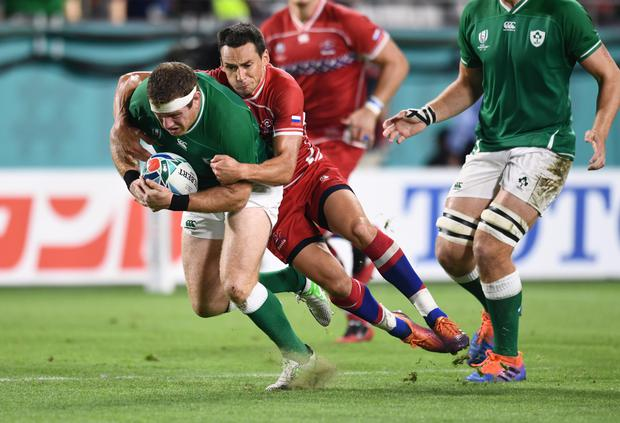 Ireland's Sean Cronin in action against Russia's Dmitry Perov