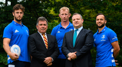Caelan Doris, club CEO Mick Dawson, head coach Leo Cullen, managing partner of Beauchamps John White and Jamison Gibson-Park at the launch of the partnership with Beauchamps. Photo: Sportsfile