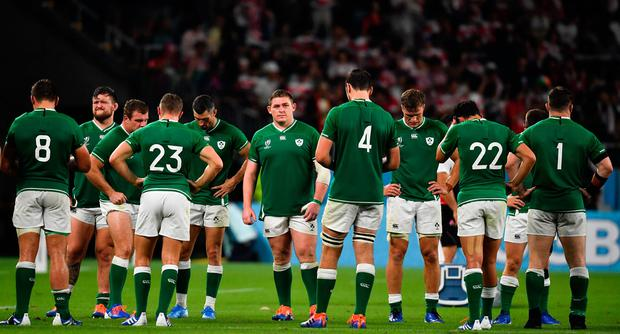 Tadhg Furlong and the Ireland team stand dejected after last weekend's defeat to Japan. Photo: Sportsfile