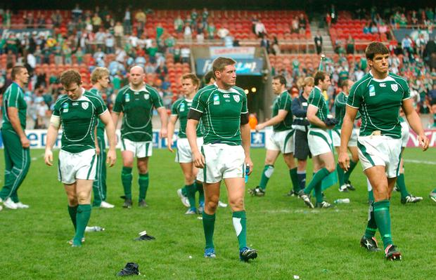Ronan O'Gara and Donncha O'Callaghan endured a similar feeling during the 2007 World Cup. Schmidt and Co still have a chance to turn their fortunes around. Photo: Sportsfile