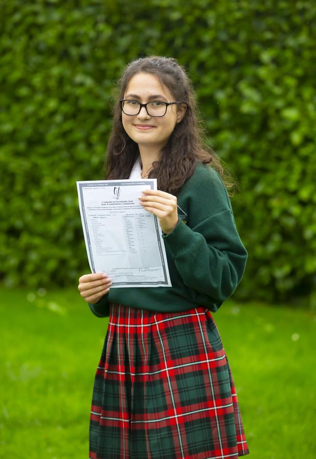 Cristina Prida from Gorey Community School, Co Wexford, with her Junior Cert results
