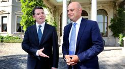 'Open and honest': Paschal Donohoe, seen here with British Chancellor Sajid Javid, says he's been transparent with Fianna Fáil. Picture: Steve Humphreys