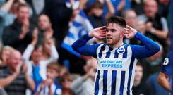 Soccer Football - Premier League - Brighton & Hove Albion v Tottenham Hotspur - The American Express Community Stadium, Brighton, Britain - October 5, 2019 Brighton and Hove Albion's Aaron Connolly celebrates scoring their second goal Action Images via Reuters/Andrew Couldridge