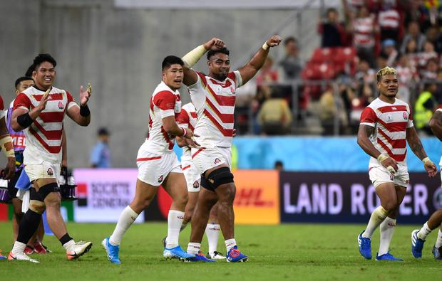 Rugby Union - Rugby World Cup 2019 - Pool A - Japan v Samoa - City of Toyota Stadium, Toyota, Japan - October 5, 2019 Japan players celebrate after the match REUTERS/Rebecca Naden