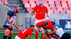 Liam O'Connor of Munster is tackled during the Guinness PRO14 clash against Southern Kings