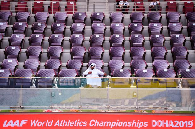 Tiers of empty seats have been a constant backdrop at the World Athletics Championships in Doha. Photo: Andrej Isakovic