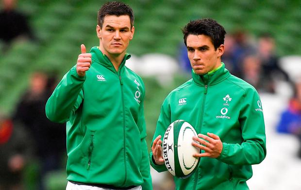 Jonathan Sexton (left) and Joey Carbery. Photo: Sportsfile
