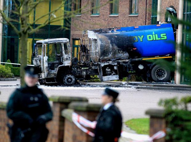 A burnt-out oil truck that was rammed into the headquarters of the Aventas Group (formerly known as the Quinn Group) in Derrylin, Co Fermanagh, in 2013