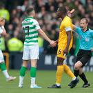 Celtic's Ryan Christie is shown the red card during the Ladbrokes Scottish Premiership match at the Tony Macaroni Arena, Livingston. PA Photo. Photo credit: Graham Stuart/PA Wire.
