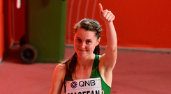 Ciara Mageean gestures to supporters after competing in the women's 1500m final at the World Championships. Photo: Sam Barnes/Sportsfile