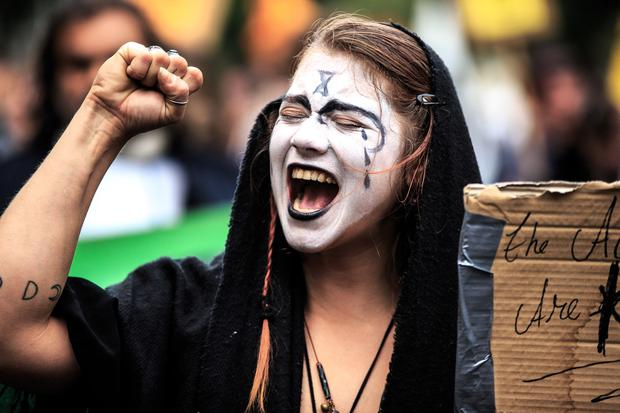Ania Hornowski from Dublin taking part in the Extinction Rebellion protest. Picture: Mark Condren