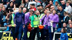 Tottenham goalkeeper Hugo Lloris is not expected to return to training before the end of 2019 after dislocating his elbow against Brighton on Saturday, the north London club have announced. Gareth Fuller/PA Wire.