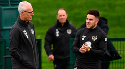 Forward thinking: Aaron Connolly chats with Ireland boss Mick McCarthy at Abbotstown yesterday after his call up to the senior squad. Photo: Sportsfile