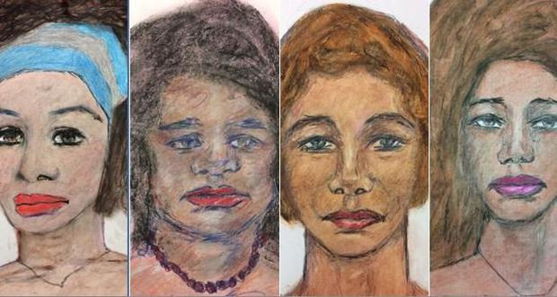 Drawings of some of Samuel Little's victim. Pic: FBI