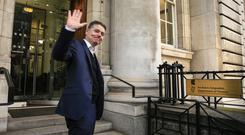 Minister for Finance Paschal Donohoe arrives at his department ahead of delivering Budget 2020. Picture: Gerry Mooney