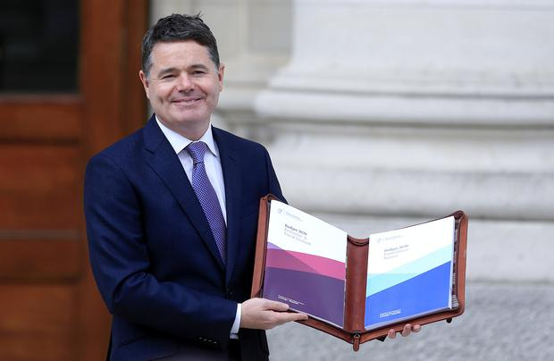 Minister for Finance Paschal Donohoe arrives at Government Buildings with Budget 2020. Picture; Gerry Mooney