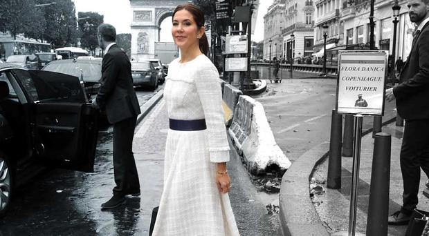 Crown Princess Mary of Denmark is seen on the Champs Elysees on October 08, 2019 in Paris, France. (Photo by Pierre Suu/Getty Images)
