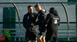 Ireland assistant coach Robbie Keane, James McClean and Republic of Ireland assistant coach Terry Connor today