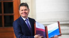 Minister for Finance Paschal Donohoe TD with Budget 2020 at Government Buildings, Dublin Photo: Gareth Chaney/Collins