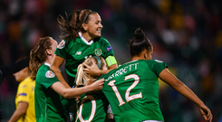 Republic of Ireland players, from left, Heather Payne, Katie McCabe, top, Denise OSullivan and Rianna Jarrett celebrate their third goal during the UEFA Women's 2021 European Championships qualifier match between Republic of Ireland and Ukraine at Tallaght Stadium in Dublin. Photo by Stephen McCarthy/Sportsfile