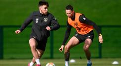 High Stakes: Aaron Connolly and Alan Browne during yesterday's Rep of Ireland training session. Photo: Stephen McCarthy/Sportsfile
