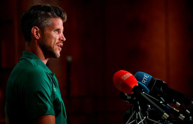 Forwards coach Simon Easterby during an Ireland Rugby press conference at the Grand Hyatt in Fukuoka, Japan. Photo: Brendan Moran/Sportsfile