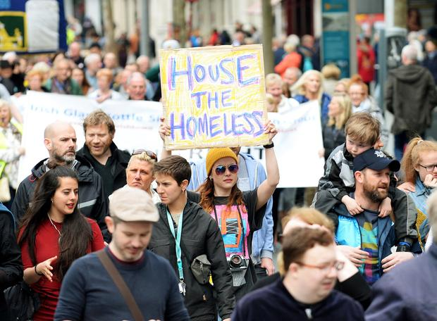 Room to improve: Protesters take part in a Raise the Roof Rally in O'Connell Street, Dublin. Photo: Caroline Quinn