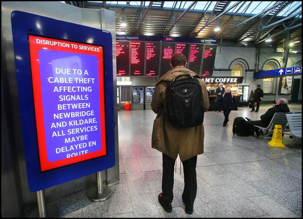 Distruption signage at Hueston Station as cable theft on the Kildare Newbridge Line affected some commuters. Pic Steve Humphreys 9th October 2019