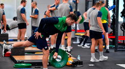 Robbie Henshaw is pictured during a squad gym session at Shirouzuoike Park in Fukuoka, Japan. Photo by Brendan Moran/Sportsfile