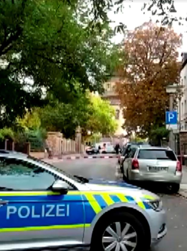 Police secure the area after a fatal shooting in Halle, Germany October 9, 2019. Nonstopnews/Reuters TV via REUTERS