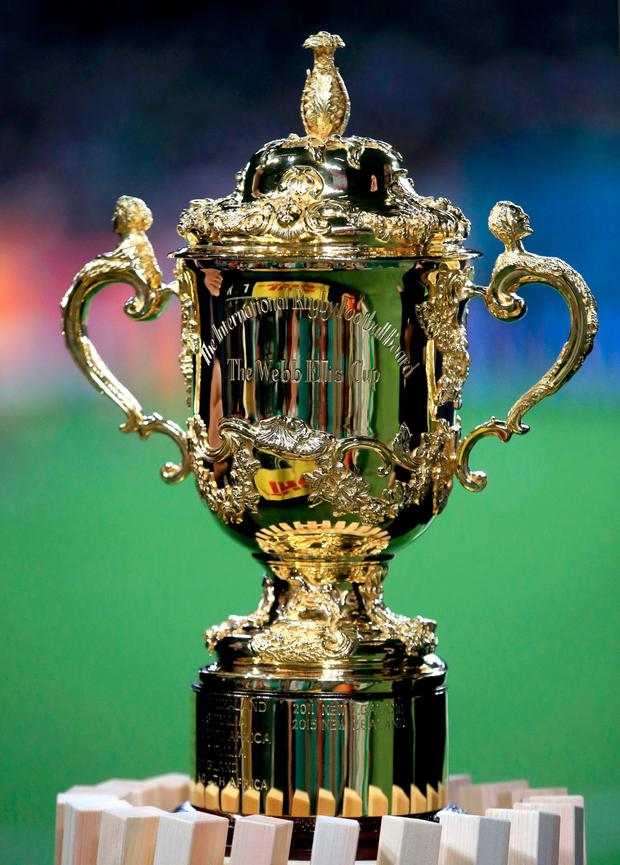 A general view of the Webb Ellis Cup. Adam Davy/PA Wire.