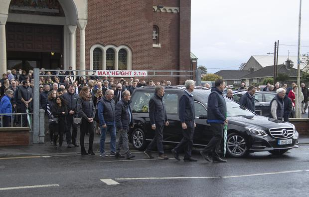 The remains of aeroplane crash victim John Finnan leave the church after his funeral at St Michael's Parish Church, Athy, Co Kildare. Photo: Colin Keegan