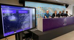Rugby Union - Rugby World Cup - World Rugby give update on preparations for Typhoon Hagibis - Tokyo, Japan - October 10, 2019 A satellite image showing Typhoon Hagibis is displayed during a press conference. REUTERS/Matthew Childs