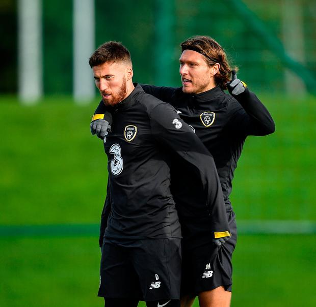Matt Doherty, left, and Jeff Hendrick during a Republic of Ireland training session at the FAI National Training Centre in Abbotstown