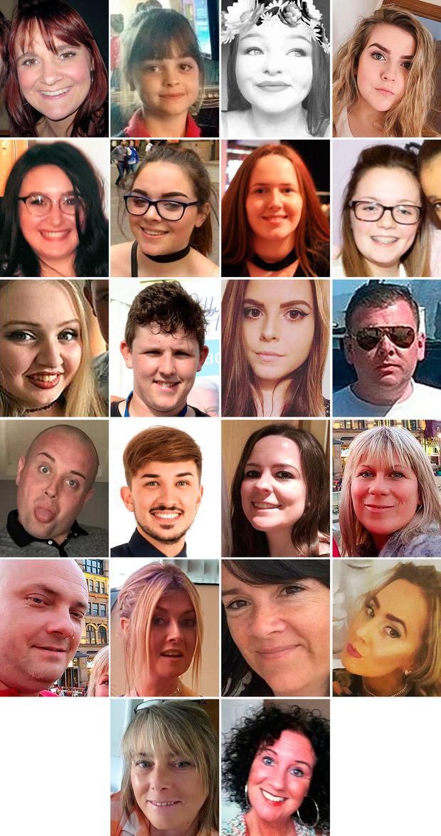 Undated handout file photos issued by Greater Manchester Police of the 22 victims of the terror attack during the Ariana Grande concert at the Manchester Arena. (top row left to right) Off-duty police officer Elaine McIver, 43, Saffie Roussos, 8, Sorrell Leczkowski, 14, Eilidh MacLeod, 14, (second row left to right) Nell Jones, 14, Olivia Campbell-Hardy, 15, Megan Hurley, 15, Georgina Callander, 18, (third row left to right), Chloe Rutherford,17, Liam Curry, 19, Courtney Boyle, 19, and Philip Tron, 32, (fourth row left to right) John Atkinson, 26, Martyn Hett, 29, Kelly Brewster, 32, Angelika Klis, 39, (fifth row left to right) Marcin Klis, 42, Michelle Kiss, 45, Alison Howe, 45, and Lisa Lees, 43 (fifth row left to right) Wendy Fawell, 50 and Jane Tweddle, 51.GMP/PA Wire