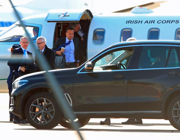 Taoiseach Leo Varadkar arrives at Liverpool Airport ahead of private talks with Prime Minister Boris Johnson in a bid to break the Brexit deadlock as the departure deadline looms. Photo: Peter Byrne/PA Wire
