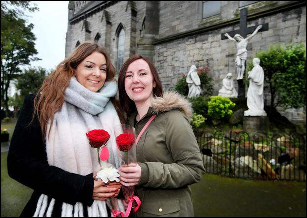 Laura Ruttimann from Geneva Switzerland and Michelle Blythe from South Yorkshire in Egland who travelled over for the 10th Anniversary Mass of the death of Boyzone's Stephen Gately at St Laurence O'Toole's Church on Sheriff Street. Pic Steve Humphreys 10th October 2019
