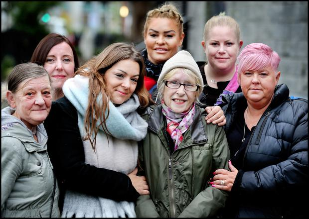 Michelle Blythe from South Yorkshire, Laura Ruttimann from Geneva Switzerland, Bianca Lee from Liverpool, Lucy Keen from Liverpool and Amanda McLaughlin from West Yorkshire who travelled over for the 10th Anniversary Mass of the death of Boyzone's Stephen Gately are pictured with his Mum Margaret (Centre) and her friend Bernie Manly (far left) at St Laurence O'Toole's Church on Sheriff Street. Pic Steve Humphreys 10th October 2019
