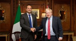 Taoiseach Leo Varadkar and British Prime Minister Boris Johnson meet in Thornton Manor, Cheshire, Noel Mullen/Handout via REUTERS