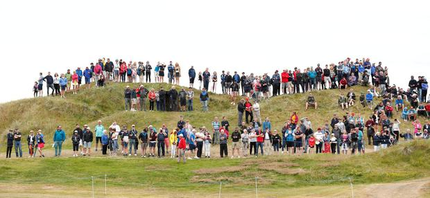 Spectators during the final round of the Irish Open at Lahinch Golf Club. Photo: Peter Cziborra/Action Images via Reuters